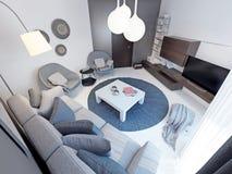 Moderne woonkamer met concrete bevloering Royalty-vrije Stock Foto's