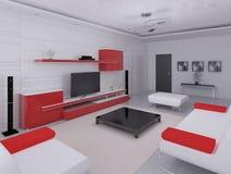 Moderne woonkamer met functioneel meubilair stock illustratie