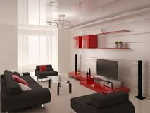Moderne woonkamer met functioneel meubilair royalty-vrije illustratie