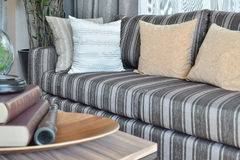 Moderne woonkamer met gestreepte hoofdkussens op toevallige sof Royalty-vrije Stock Foto's