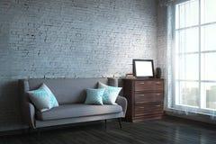 Moderne woonkamer met kader Stock Fotografie