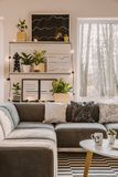 Moderne woonkamer met lichten stock foto