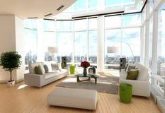 Moderne woonkamer met omslag rond vensters Stock Afbeeldingen