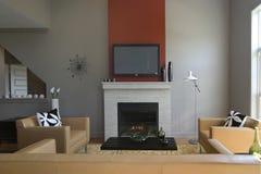 Moderne Woonkamer met open haard stock fotografie