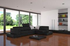 Moderne woonkamer met parketvloer Stock Foto's