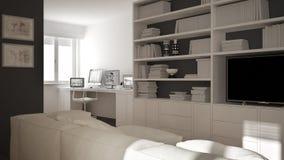 Moderne woonkamer met werkplaatshoek, groot boekenrek en venster, minimaal wit architectuurbinnenland stock illustratie