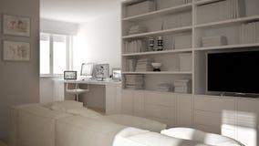 Moderne woonkamer met werkplaatshoek, groot boekenrek en venster, minimaal wit architectuurbinnenland royalty-vrije illustratie
