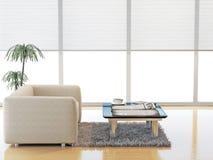 Moderne woonkamer met witte leerbank Stock Foto's