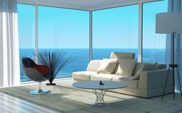 Moderne Woonkamer met zeegezichtmening | Zolderbinnenland Stock Afbeelding