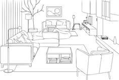 Moderne Woonkamer Vectorlijn Art Illustration Stock Foto's