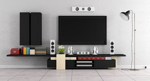 Moderne woonkamerruimte met TV-muureenheid Royalty-vrije Stock Foto