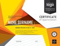 Moderne Zertifikathintergrund-Designschablone Lizenzfreies Stockfoto
