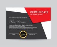 Moderne Zertifikatschablone und modisch stockfoto