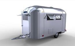 Moderne zilveren caravan/aanhangwagen Royalty-vrije Stock Foto