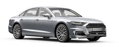 Moderne zilveren luxeauto Stock Afbeeldingen