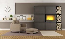 Moderne zitkamer met open haard Royalty-vrije Stock Foto's