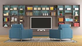 Moderne zitkamer met TV royalty-vrije illustratie