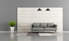Moderne zitkamer met wit houten paneel stock illustratie
