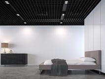 Moderne zolderslaapkamer met het zwarte 3d teruggevende beeld van het staalplafond stock illustratie