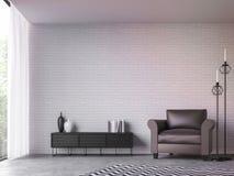 Moderne zolderwoonkamer met 3d teruggevende beeld van de aardmening royalty-vrije illustratie