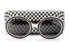 Moderne zonnebril met geval stock fotografie