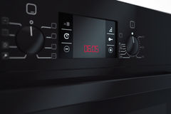 Moderne Zwarte Elektrische Oven het 3d teruggeven Stock Fotografie