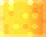 Moderner abstrakter Hintergrund mit orange und gelbem Hexagonmuster Stockfotografie