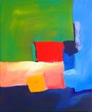 Moderner abstrakter Landschaftsanstrich mit rotem Quadrat Stockbild