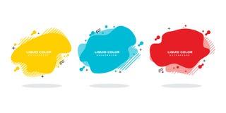 Moderner abstrakter Vektorfahnensatz Flache geometrische flüssige Form mit verschiedenen Farben stock abbildung