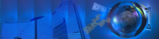 Moderner Anblick auf weltweitem Geschäft Stockbild