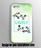 Moderner Aquarellentwurf mit Kirschblütenniederlassungen - iphone Fall stockfotografie