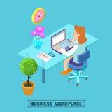 Moderner Arbeitsplatz-isometrisches Büro Geschäftsfrau bei der Arbeit Stockbild