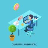 Moderner Arbeitsplatz Isometrisches Büro Geschäftsmann bei der Arbeit Lizenzfreie Stockfotografie
