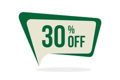 Moderner Art-Verkaufs-Rabatt etikettiert Vektor 30% weg von der Förderungs-Ausweis-Schablone Flache Aufkleber-Entwürfe lizenzfreie abbildung