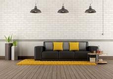 Moderner Aufenthaltsraum mit braunem Sofa vektor abbildung