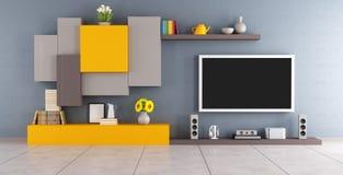 Moderner Aufenthaltsraum mit Fernseher lizenzfreie abbildung
