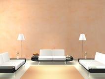 Moderner Aufenthaltsraum mit Lachs-farbiger Wand Stockfoto