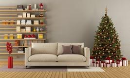 Moderner Aufenthaltsraum mit Weihnachtsbaum stock abbildung