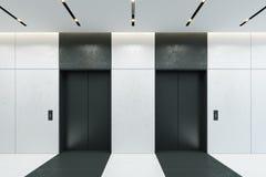 Moderner Aufzug mit geschlossenen Türen in der Bürolobby Lizenzfreie Stockfotos