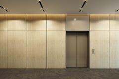 Moderner Aufzug mit geschlossenen T?ren in der B?rolobby lizenzfreies stockfoto