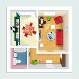 Moderner ausführlicher Grundriss für Wohnung mit Küche, Wohnzimmer, Badezimmer und Halle Draufsicht des Wohnungsinnenraums lizenzfreie abbildung
