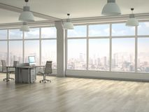 Moderner Büroinnenraum 3d übertragen Lizenzfreies Stockfoto