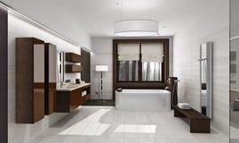 Moderner Badezimmerinnenraum im Tageslicht stock abbildung
