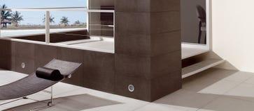 Moderner Balkon mit Ansicht von Meer Lizenzfreies Stockfoto