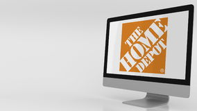 Moderner Bildschirm mit dem Home Depot-Logo Redaktionelle Wiedergabe 3D Lizenzfreie Stockfotos
