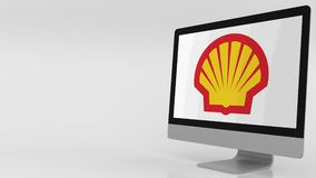 Moderner Bildschirm mit Shell-Logo Klipp des Leitartikels 4K stock video footage