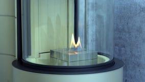Moderner Bio-fireplot Kamin auf Äthanolgas stock footage
