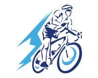 Moderner blauer Bewegungs-Radfahrer im Aktions-Schattenbild-Logo Lizenzfreie Stockbilder