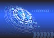 Moderner blauer Hintergrundentwurf der abstrakten Kreistechnologie Erde gemacht von den glatten W?rfeln lokalisiert auf Schwarzem lizenzfreie abbildung