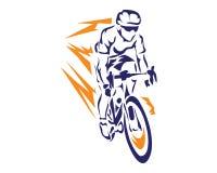 Moderner Blitz-Geschwindigkeits-Radfahrer im Aktions-Schattenbild-Logo Lizenzfreie Stockfotos